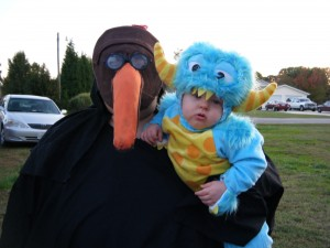 Plague Doctor and Baby Monster costume