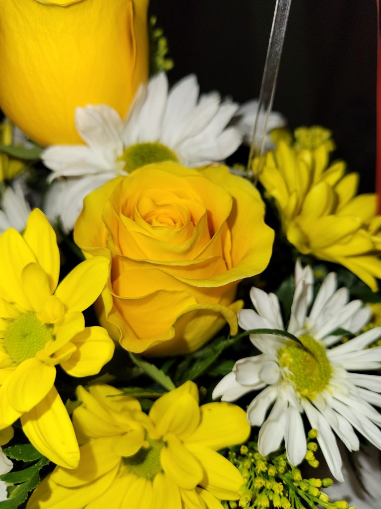 Yellow roses are surrounded by yellow and white daisies